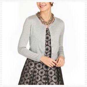 New TALBOTS Gray Silver Metallic Cardigan Sweater